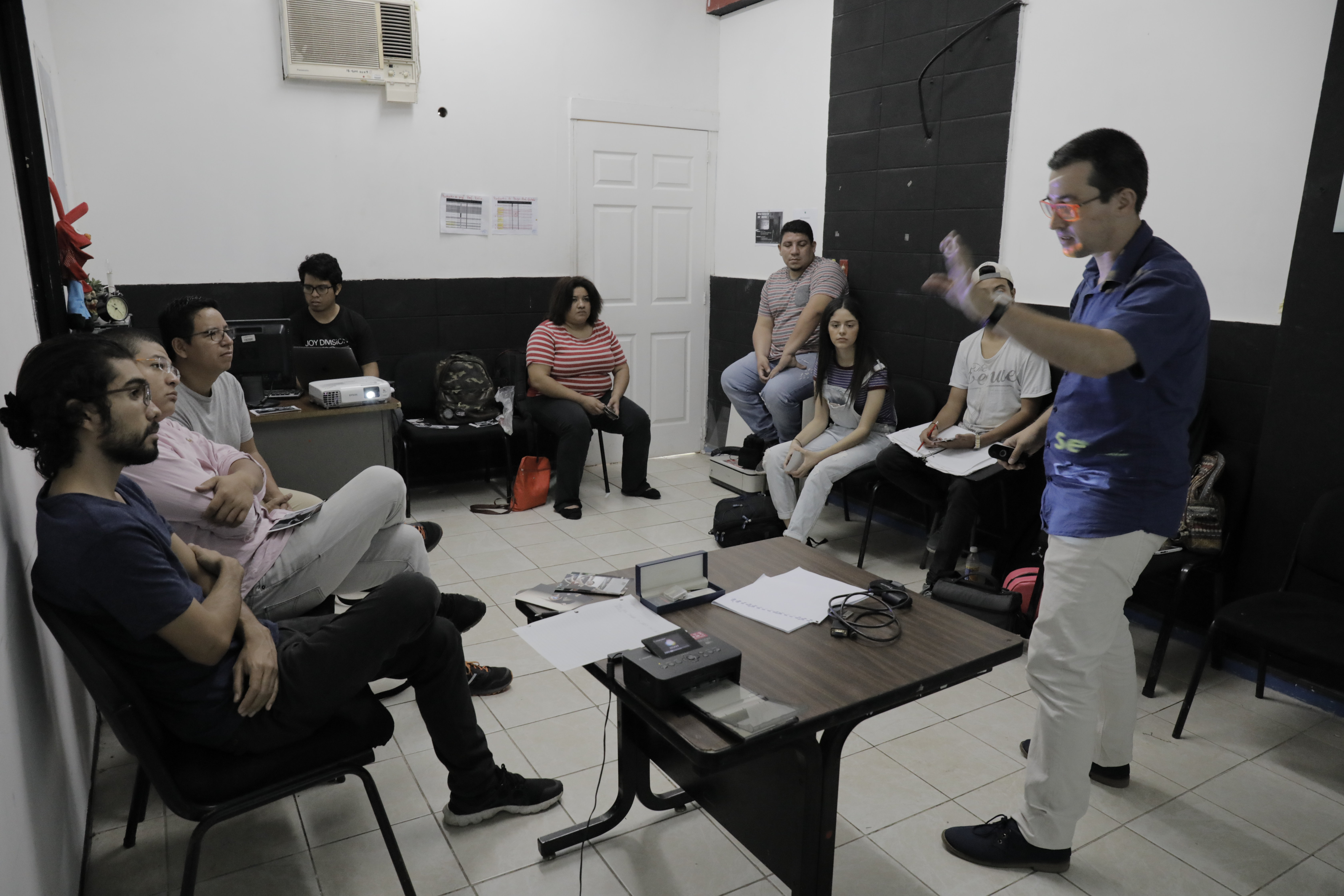 Jean Mazel at CENART University in San Salvador (Photos by Aaron Ganz)